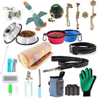 AONESY Puppy Starter Kits for Small Dog, 24pcs New pup Dog Starter kit Gift Set,Includes:Dog Toys/Dog Bed Blankets/Dog Grooming Tool/Puppy Training Supplies/Dog Leashes Accessories/Feeding Supplies