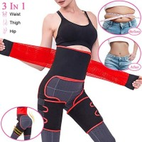 Kaqulec [New 2020 Plus Elastic Band High Waist Trainer Thigh,3-in-1 Trimmer Fitness Weight Butt Lifter Slimming Support Belt Hip Enhancer Shapewear Thigh Trimmers for Women