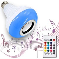 LED Light Bulb Bluetooth Speaker, 6W E26/E27 RGB Changing Lamp Wireless Stereo Audio with 24 Keys Remote Control