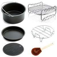 Air Fryer Accessories Fits All 3.2QT - 5.3QT - 5.8QT - Non-stick Barrel / Pan + Stainless Steel Holder / Double-layer Rack with Skewers+ Silicone Mat + Palm Leaf Pot Brush